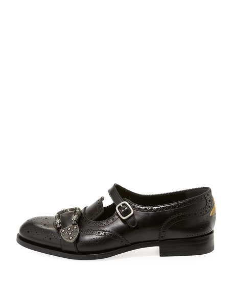 Queercore Brogue Leather Monk Shoe, Black