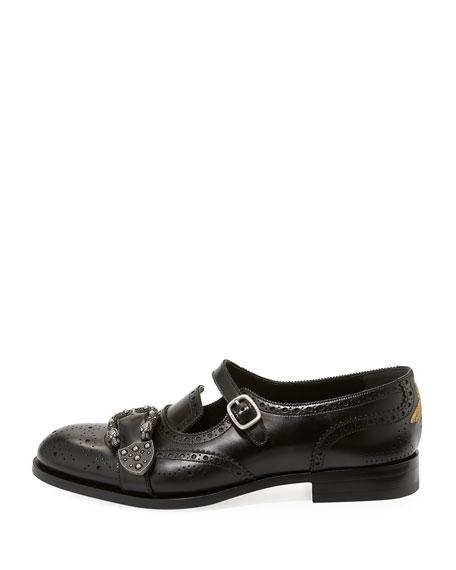 Queercore Brogue Leather Monk Shoe, Black