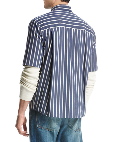 Narrow-Stripe Short-Sleeve Pleat-Back Shirt, Royal