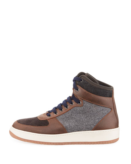 Men's Wool and Leather High-Top Sneakers