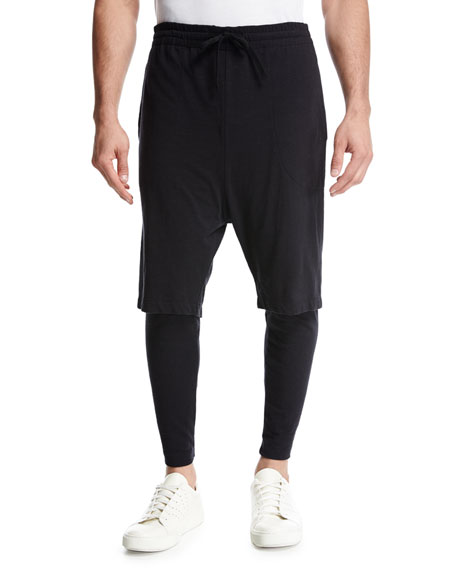 Double-Layer Lounge Jogger Pants, Black