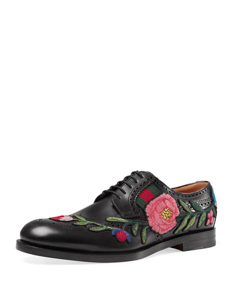 Strand Embroidered Lace-Up Shoe, Black