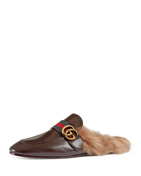 New Princetown Leather Fur-Lined Slipper with Double G, Brown