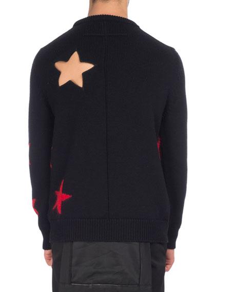 Star Cutout & Intarsia Wool Crewneck Sweater