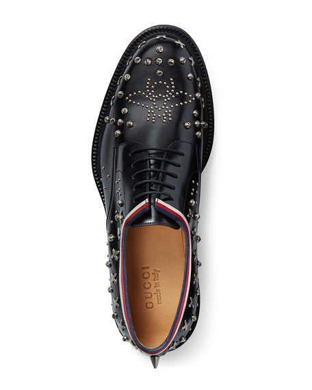 Beyond Leather Lace-Up Shoe with Studs, Black