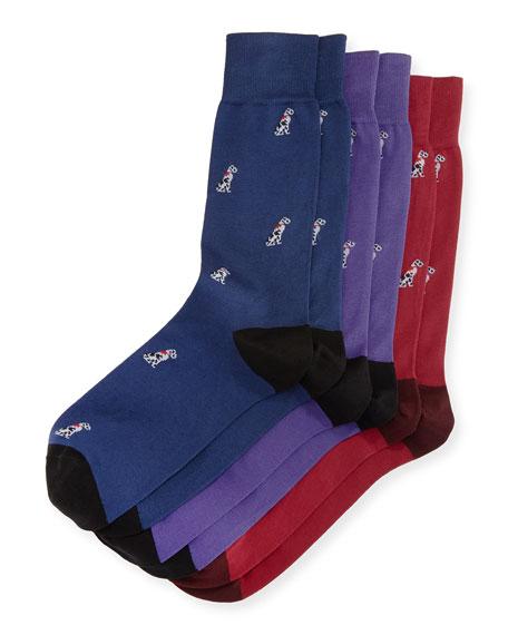 Paul Smith 3-Pack Dog Socks, Multicolor