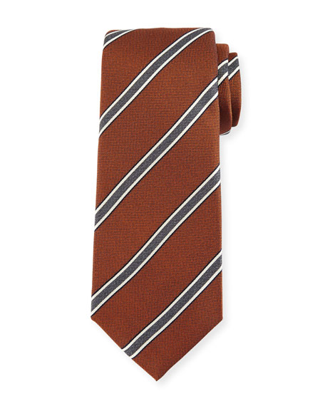 Kiton Framed-Stripe Silk Tie, Orange