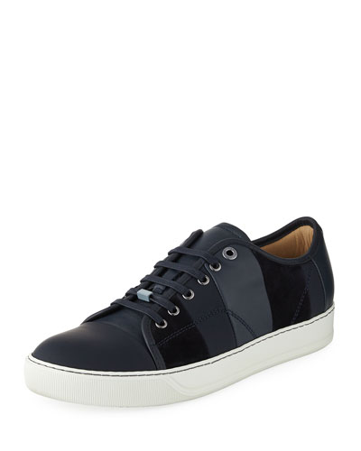 Men's Striped Leather Low-Top Sneaker