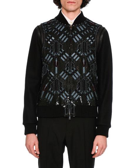 Love Blade Leather & Wool Bomber Jacket, Black