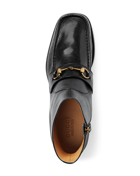 Vegas Horsebit Leather Boot, Black