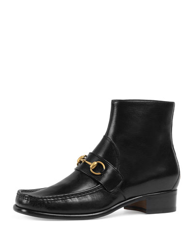 Vegas Horsebit Leather Boot, Black