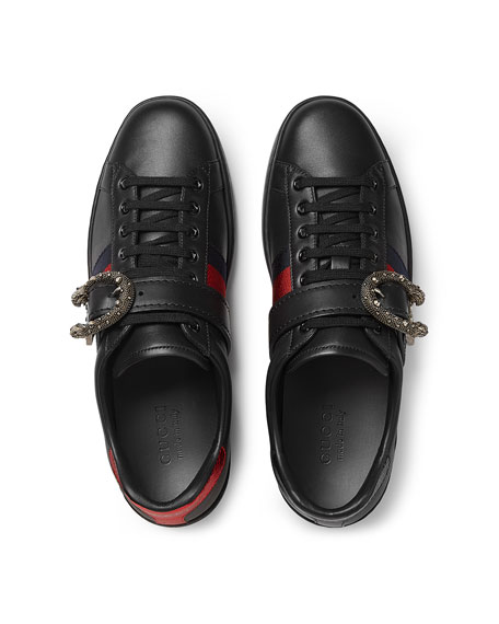 New Ace Leather Low-Top Sneaker with Dionysus Buckle, Black