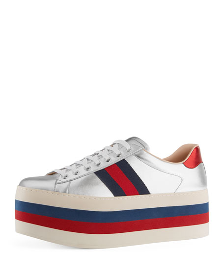 New Ace Leather Low-Top Platform Sneaker, Silver