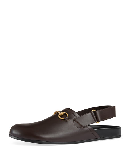 Gucci River Leather Horsebit Slide, Brown