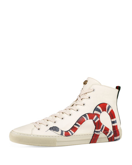Major Snake-Print Leather High-Top Sneaker, White