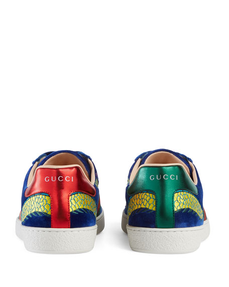 9fd1fe59b80 Gucci New Ace Embroidered Velvet Low-Top Sneaker