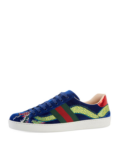 New Ace Embroidered Velvet Low-Top Sneaker, Blue