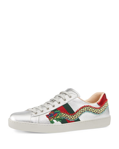 New Ace Embroidered Leather Low-Top Sneaker, Silver