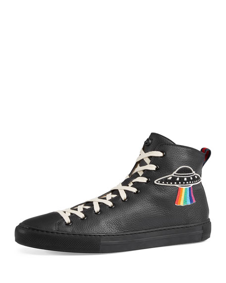6e10d7bb6fe Gucci Men's Major Leather High-Top Sneakers with Appliqués, Black