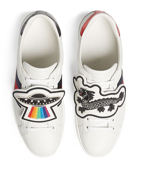 New Ace Leather Low-Top Sneaker with Removable Embroideries, White