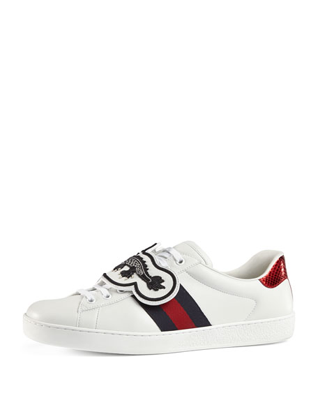 de86c58e35a Gucci Men s New Ace Leather Low-Top Sneakers with Removable Embroideries
