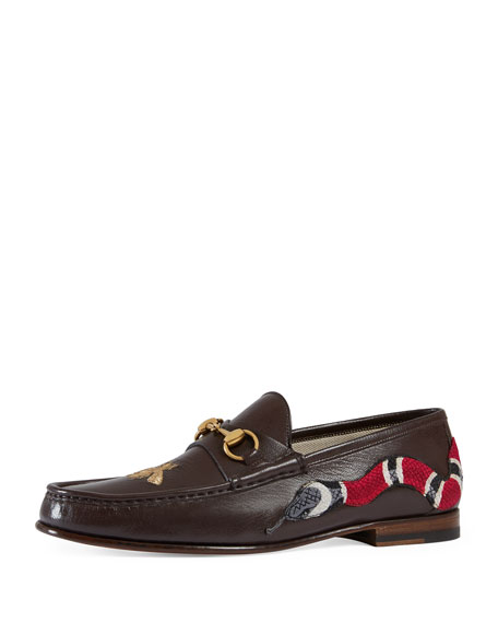 17793757c388 Gucci Roos Leather Moccasin Loafer with Snake