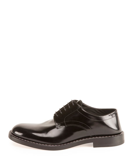 Crush-Heel Leather Dress Shoe, Black