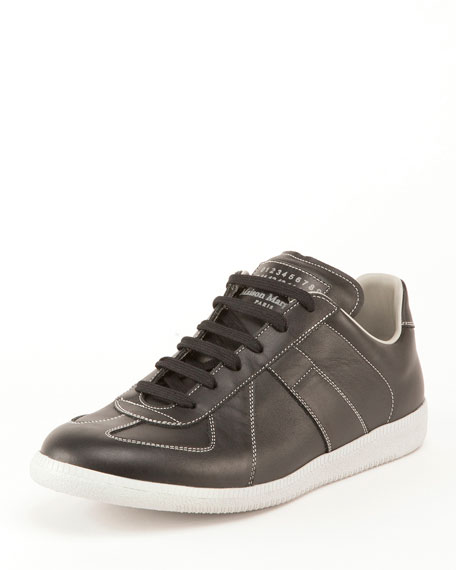 Maison Margiela Men's Replica Contrast-Stitch Leather Low-Top