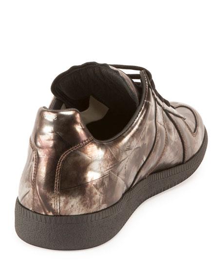 Men's Replica Mirror Leather Low-Top Sneaker, Gray
