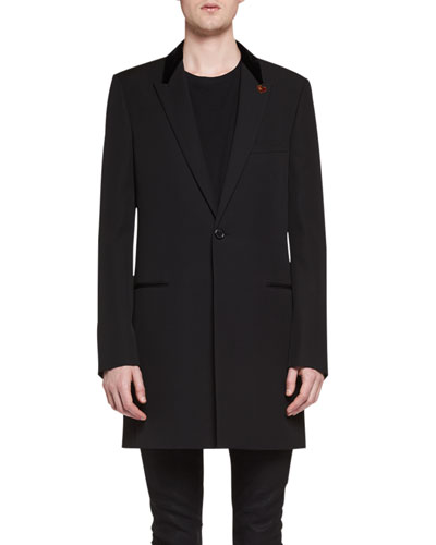 Chesterfield Wool Velvet-Collar Single-Breasted Coat, Black