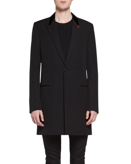 01d12ed4d64 Saint Laurent Chesterfield Wool Velvet-Collar Single-Breasted Coat, Black