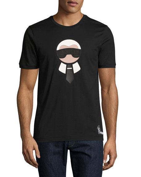 Fendi Karlito Studded Short-Sleeve T-Shirt, Black