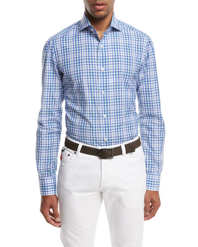 Check Cotton Dress Shirt, Blue/Green