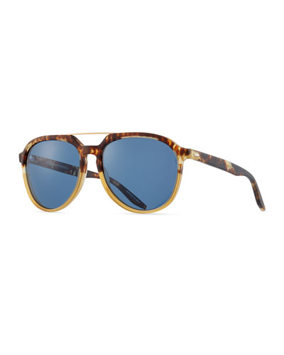 Bugler Universal-Fit Brow-Bar Sunglasses, Mottled Amber Tortoise/Brushed Gold/Marine