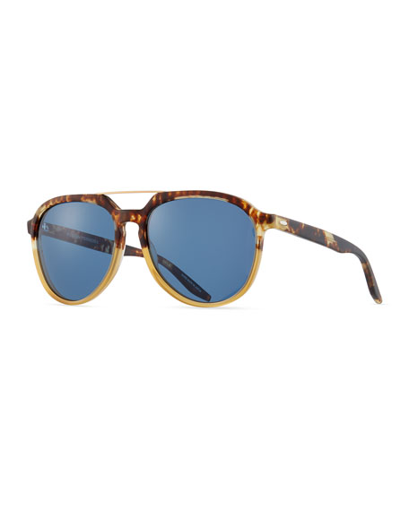 Barton Perreira Bugler Universal-Fit Brow-Bar Sunglasses, Mottled