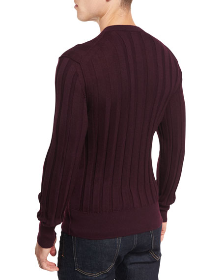 Cashmere-Silk Ribbed Henley Sweater