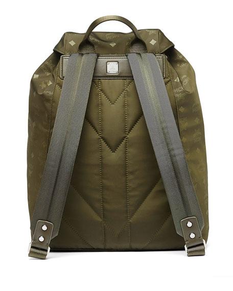 Dieter Monogramed Canvas Backpack, Green