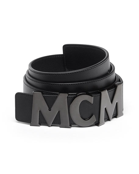 Collection Logo Letter Leather Belt, Black