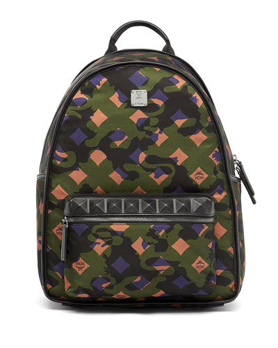 Dieter Munich Lion Camo Canvas Backpack  Green