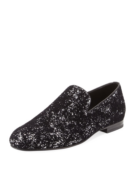 Jimmy Choo Sloane Men's Coarse Glitter Velvet Slipper,