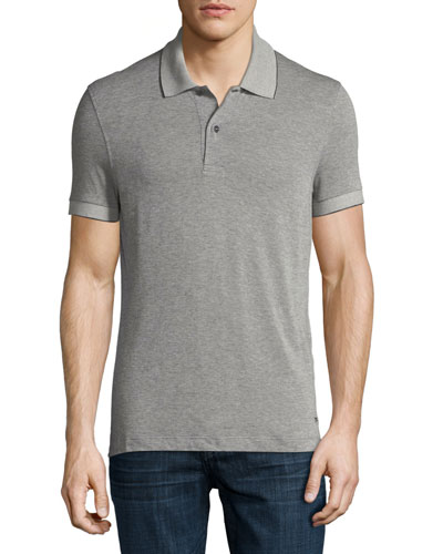 Pique Polo Shirt, Medium Gray