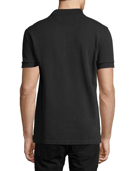 Tennis Pique Polo Shirt, Black
