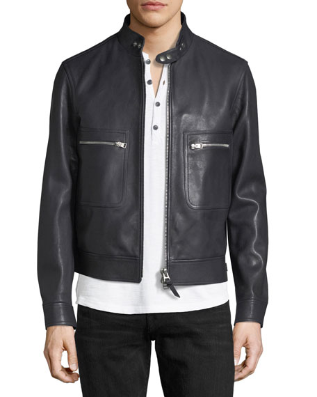 f90f45cd2 Lambskin Leather Bomber Jacket