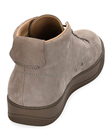 Men's Nubuck Leather Mid-Top Sneaker, Light Gray