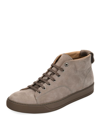 Men's Nubuck Leather Mid-Top Sneaker, Light Gray