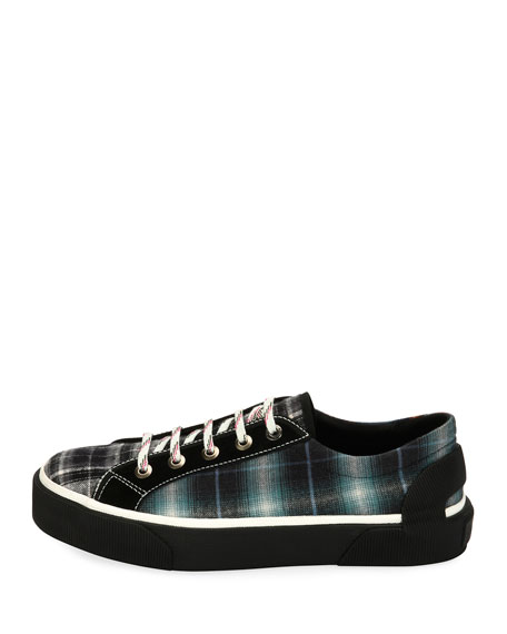 Men's Mixed-Plaid Flannel Low-Top Sneakers, Dark Green