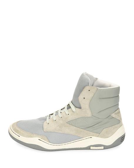 Men's Mesh & Suede Indoor High-Top Sneaker, Light Gray