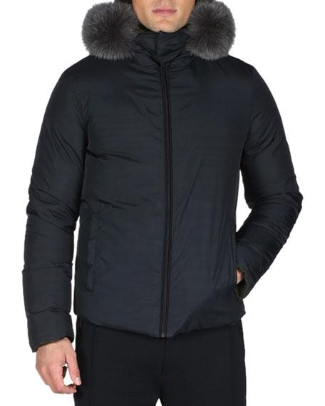 8a66748cf Fendi Reversible Monster Down Ski Jacket with Fur Trim, Blue/Black