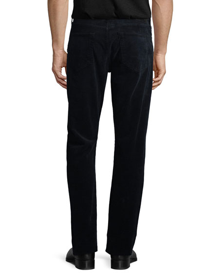 5-Pocket Straight-Leg Corduroy Pants, Navy
