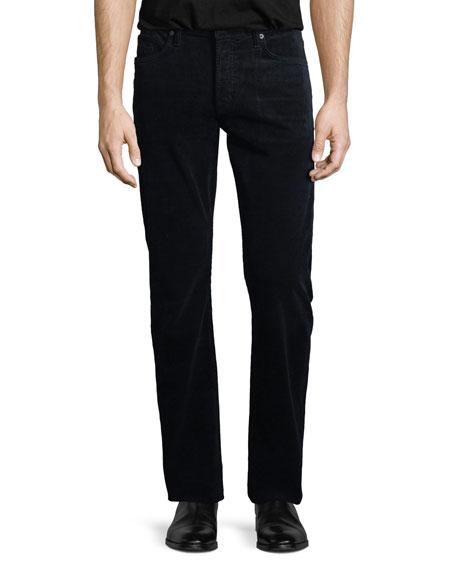 5-Pocket Straight-Leg Corduroy Pants, Navy